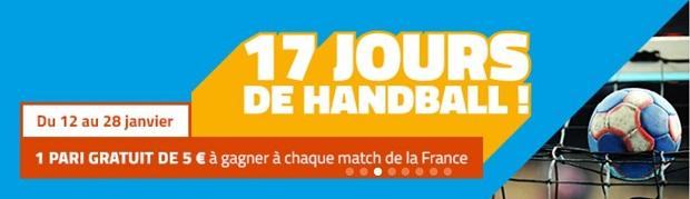 Prono gratuit de 5€ à gagner à chaque match de l'équipe de France de hand entre le 12 et le 28 janvier 2018