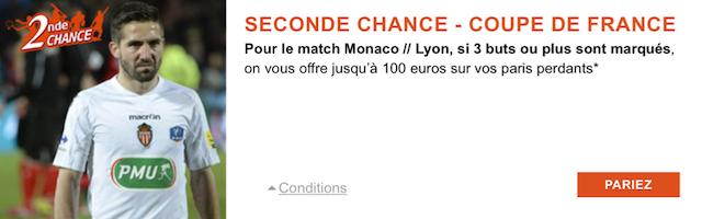 Jusqu'à 100€ indemnisés sur la rencontre Monaco/Lyon en Coupe de France avec PMU