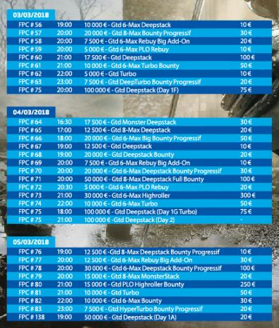 Programme du FP Championship de PMU Poker du 25/02 au 12/03