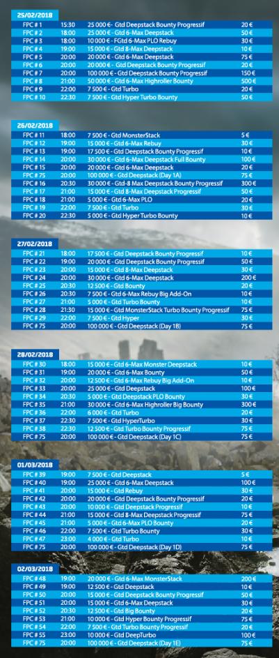 Programme du FPC IX de PMU Poker du 25/02 au 12/03