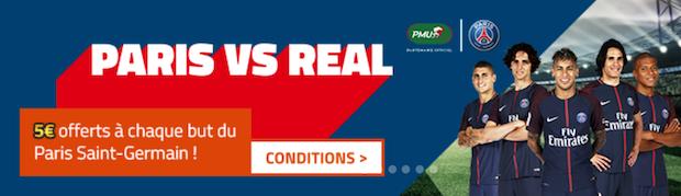 Offre spéciale PSG/Madrid en 1/8ème de finale retour de la LdC sur PMU