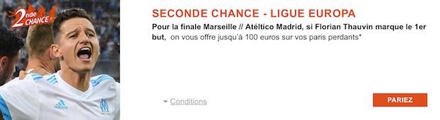 Jusqu'à 100€ de bonus offerts sur la finale de la C3 Marseille/Atletico Madrid