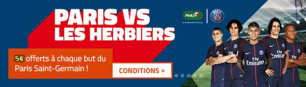 Profitez d'un bonus allant jusqu'à 15€ lors du match Paris/Les Herbiers sur PMU