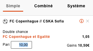 Pronostic Double Chance CSKA-Copenhague