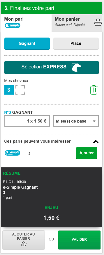 Ticket de pari e-simple sur PMU