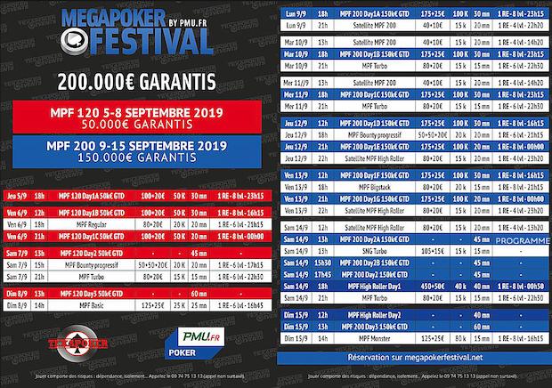 Jackpot de 200 000€ à partager au Mega Poker Festival de 2019 avec PMU