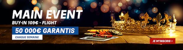 Cagnotte de 50 000€ hebdomadaire mise en jeu sur le Main PMU Poker