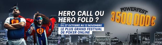 Powerfest Hero Call sur PMU Poker du 27/10 au 12/11