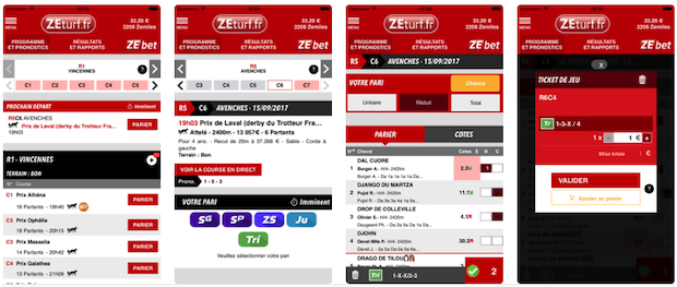 Application ZEturf iOS et Android