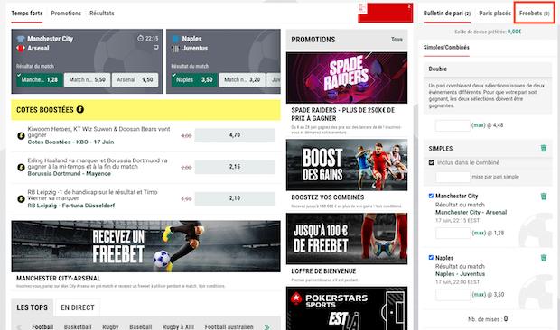 Utilisez votre pari gratuit sur PokerStars Sport